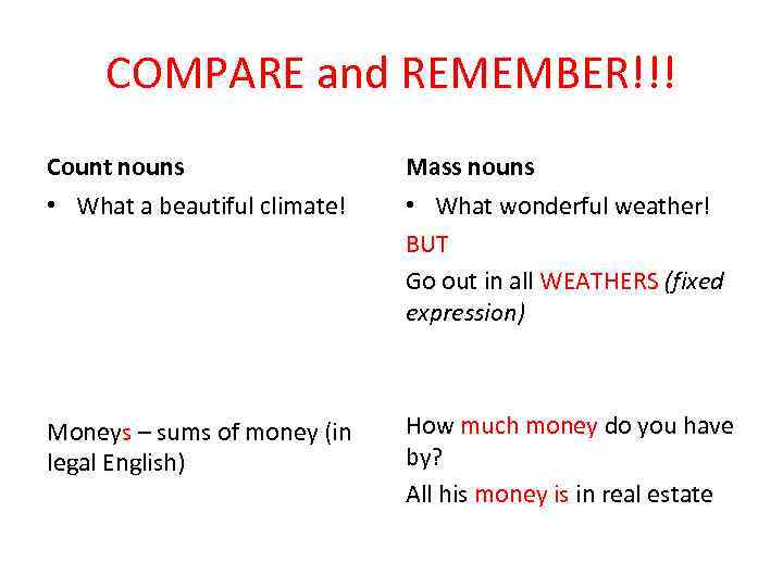 COMPARE and REMEMBER!!! Count nouns Mass nouns • What a beautiful climate! • What