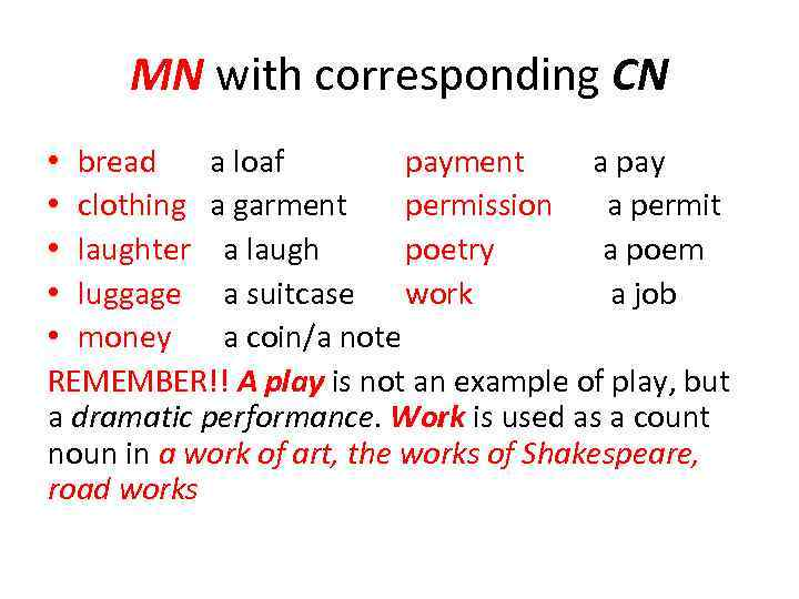 MN with corresponding CN • bread a loaf payment a pay • clothing a