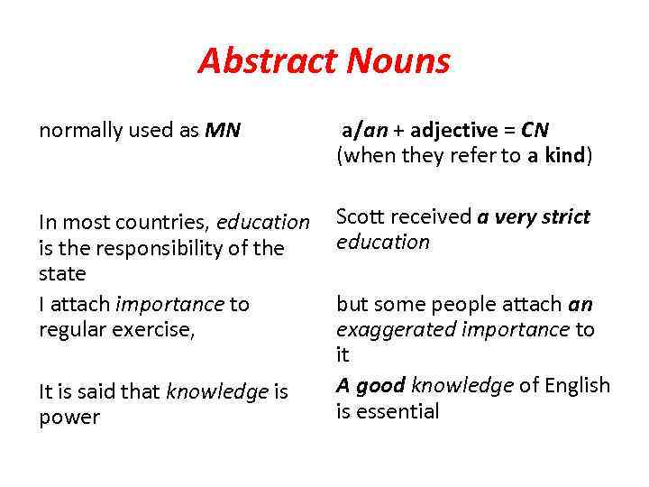 Abstract Nouns normally used as MN a/an + adjective = CN (when they refer
