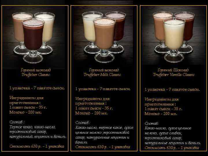 Горячий шоколад Truffelier Classic Горячий шоколад Truffelier Milk Classic Горячий Шоколад Truffelier Vanilla Classic