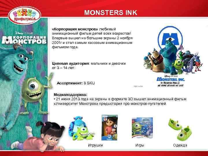 MONSTERS INK «Корпорация монстров» любимый анимационный фильм детей всех возрастов! Впервые вышел на большие