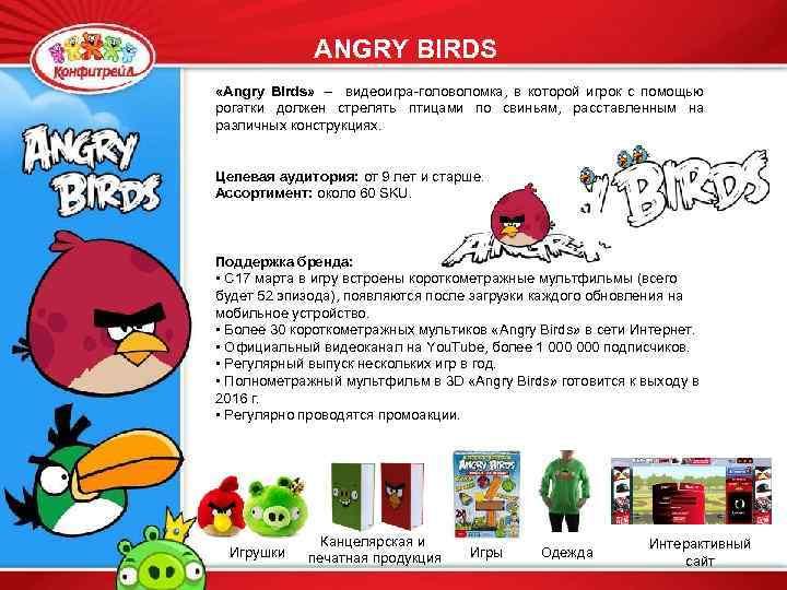 ANGRY BIRDS «Angry Birds» – видеоигра-головоломка, в которой игрок с помощью рогатки должен стрелять