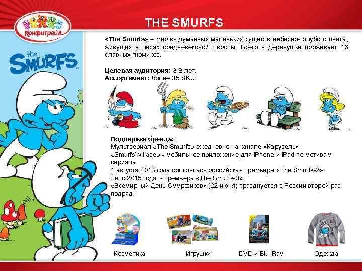THE Смурфы SMURFS «The Smurfs» – мир выдуманных маленьких существ небесно-голубого цвета, живущих в