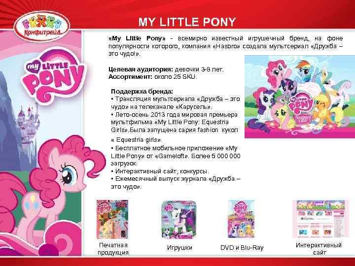 MY LITTLE PONY «My Little Pony» - всемирно известный игрушечный бренд, на фоне популярности