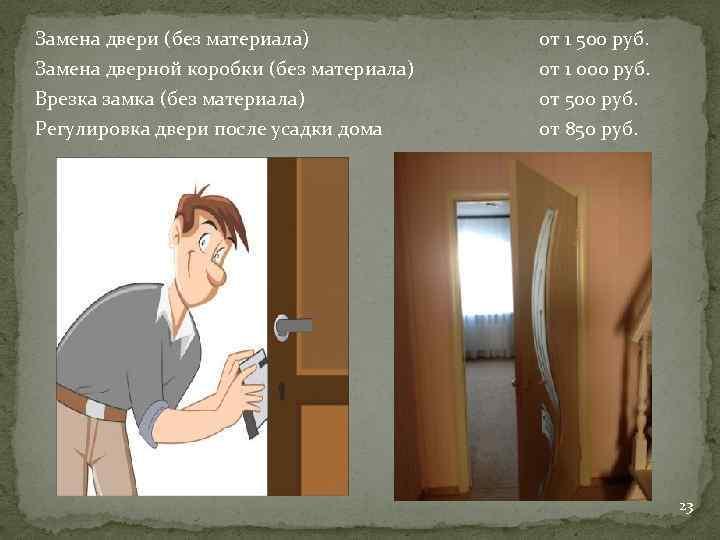 Замена двери (без материала) от 1 500 руб. Замена дверной коробки (без материала) Врезка