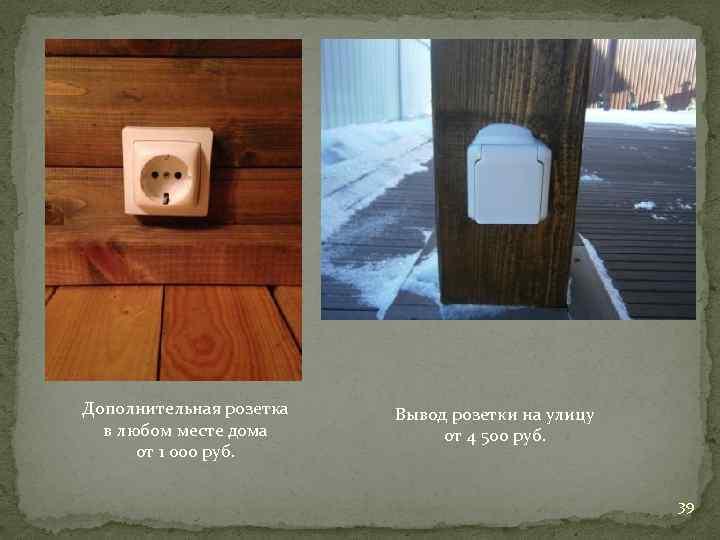 Дополнительная розетка в любом месте дома от 1 000 руб. Вывод розетки на улицу