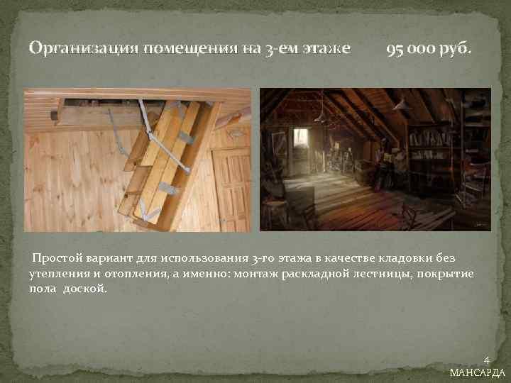 Организация помещения на 3 -ем этаже 95 000 руб. Простой вариант для использования 3