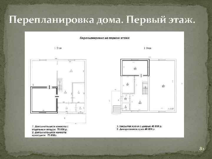 Перепланировка дома. Первый этаж. 82