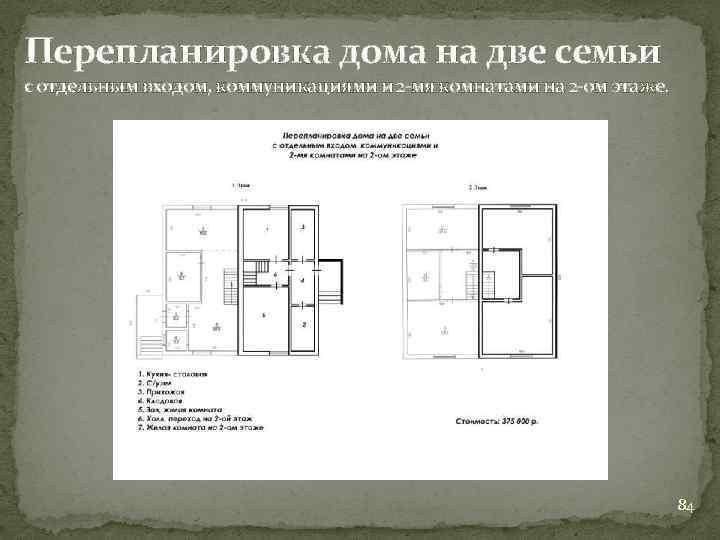 Перепланировка дома на две семьи с отдельным входом, коммуникациями и 2 -мя комнатами на