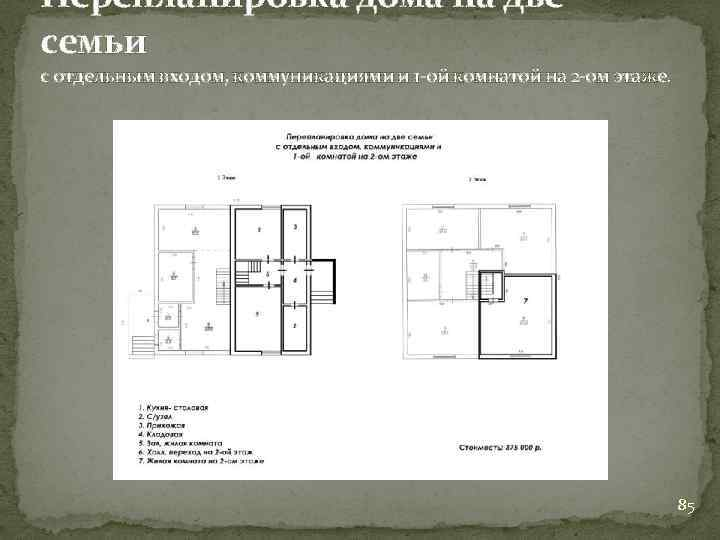 Перепланировка дома на две семьи с отдельным входом, коммуникациями и 1 -ой комнатой на