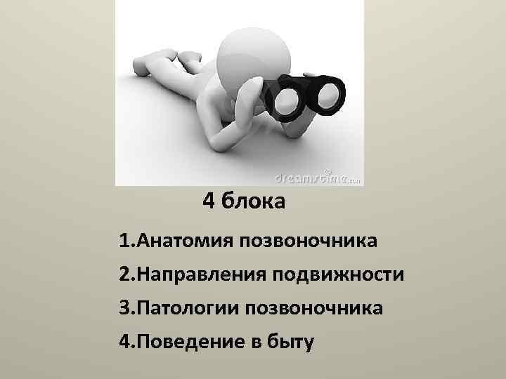 4 блока 1. Анатомия позвоночника 2. Направления подвижности 3. Патологии позвоночника 4. Поведение в