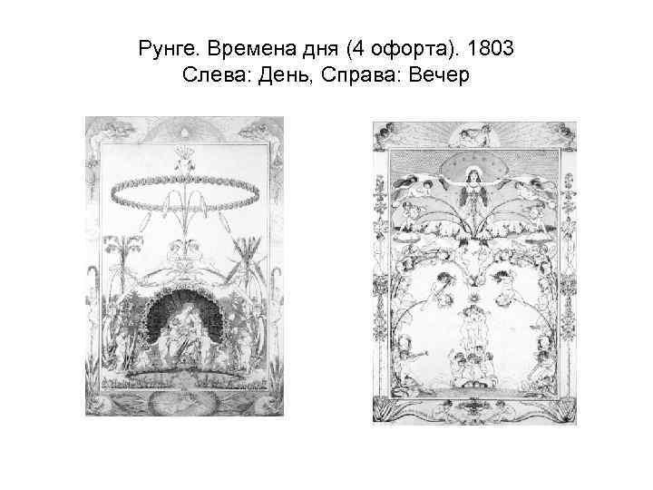 Рунге. Времена дня (4 офорта). 1803 Слева: День, Справа: Вечер