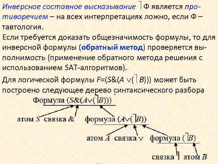 Инверсное составное высказывание Ф является противоречием – на всех интерпретациях ложно, если Ф –