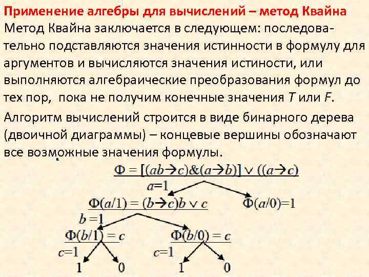 Применение алгебры для вычислений – метод Квайна Метод Квайна заключается в следующем: последовательно подставляются