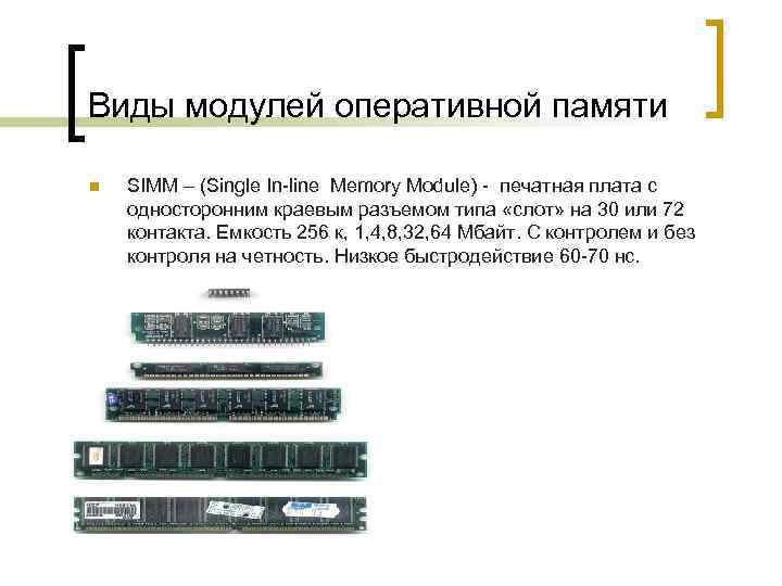 Виды модулей оперативной памяти n SIMM – (Single In-line Memory Module) - печатная плата