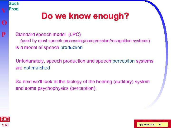 V O P Spch Prod Do we know enough? Standard speech model (LPC) (used