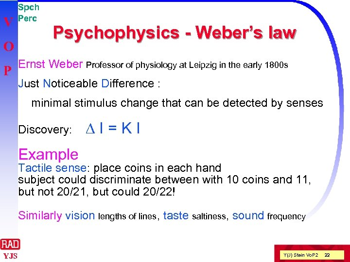 V O P Spch Perc Psychophysics - Weber's law Ernst Weber Professor of physiology