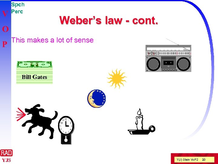 V Spch Perc O P Weber's law - cont. This makes a lot of