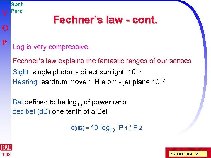 V O Spch Perc Fechner's law - cont. Fechner P Log is very compressive
