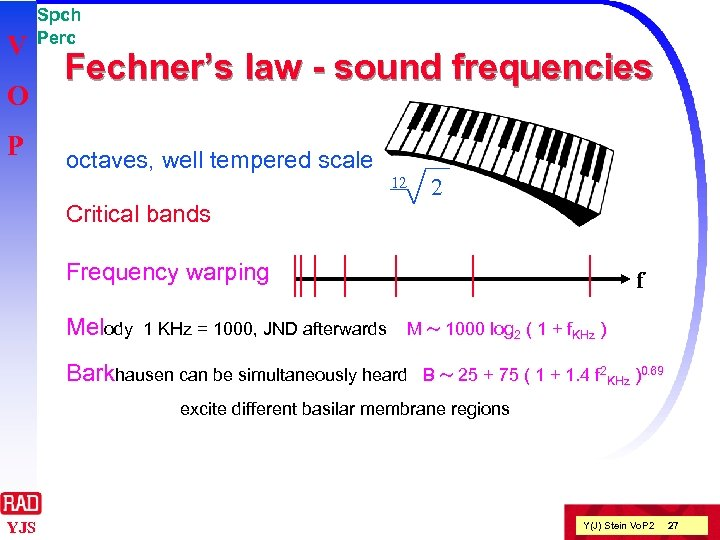 V O P Spch Perc Fechner's law - sound frequencies octaves, well tempered scale