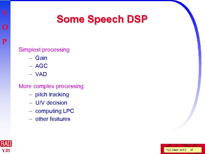 V O Some Speech DSP P Simplest processing – Gain – AGC – VAD