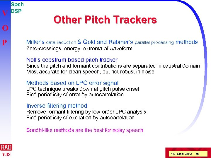 V O P Spch DSP Other Pitch Trackers Miller's data-reduction & Gold and Rabiner's