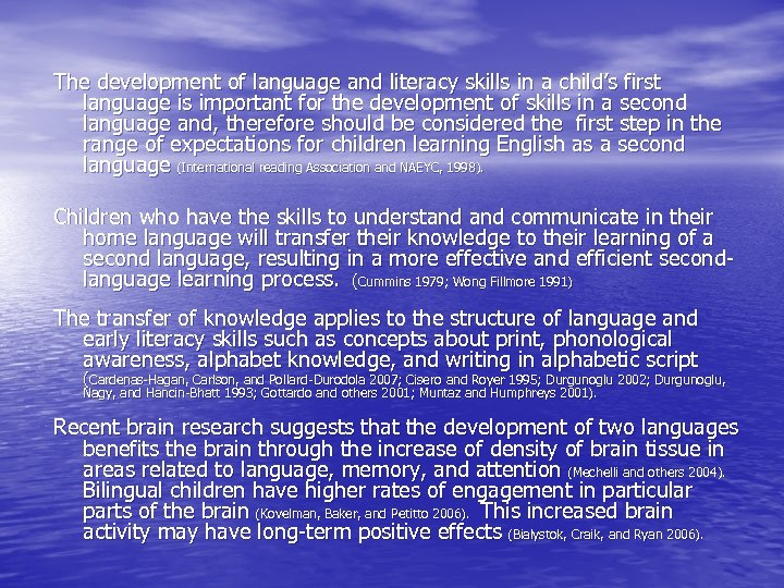 The development of language and literacy skills in a child's first language is important