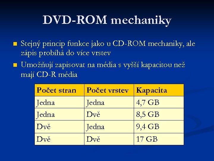 DVD-ROM mechaniky n n Stejný princip funkce jako u CD-ROM mechaniky, ale zápis probíhá