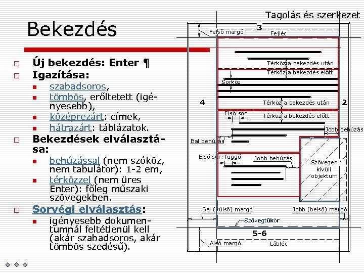 Tagolás és szerkezet Bekezdés o o Új bekezdés: Enter ¶ Igazítása: n n o
