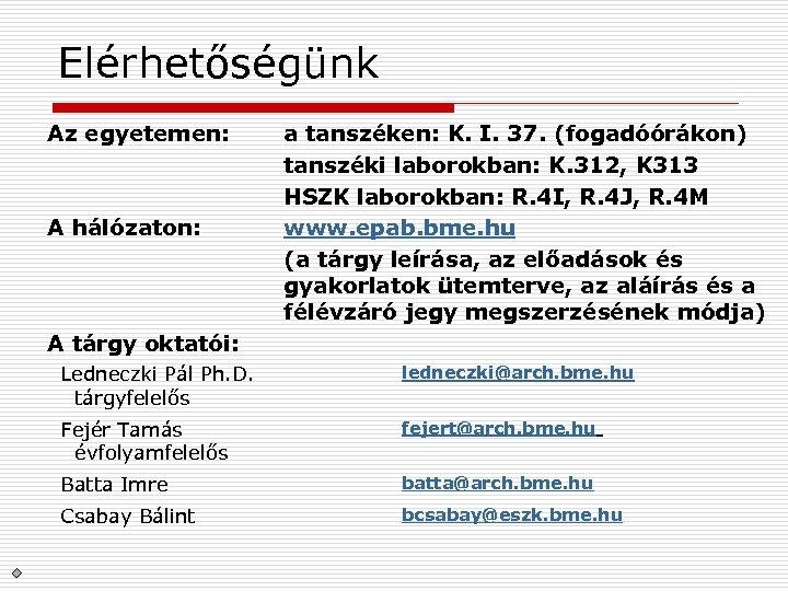 Elérhetőségünk Az egyetemen: A hálózaton: a tanszéken: K. I. 37. (fogadóórákon) tanszéki laborokban: K.