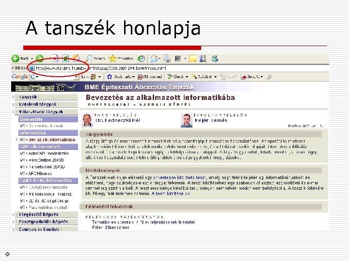 A tanszék honlapja