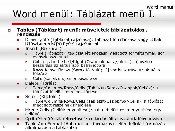 Word menüi: Táblázat menü I. o Tables (Táblázat) menü: műveletek táblázatokkal, rendezés n n