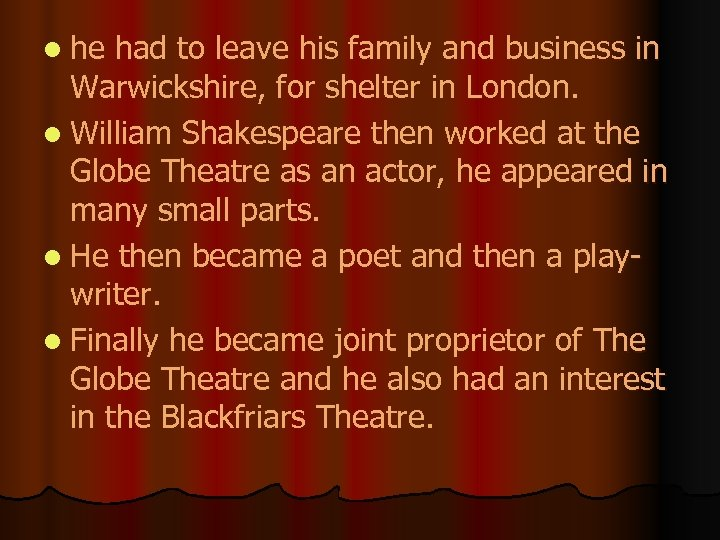 l he had to leave his family and business in Warwickshire, for shelter in