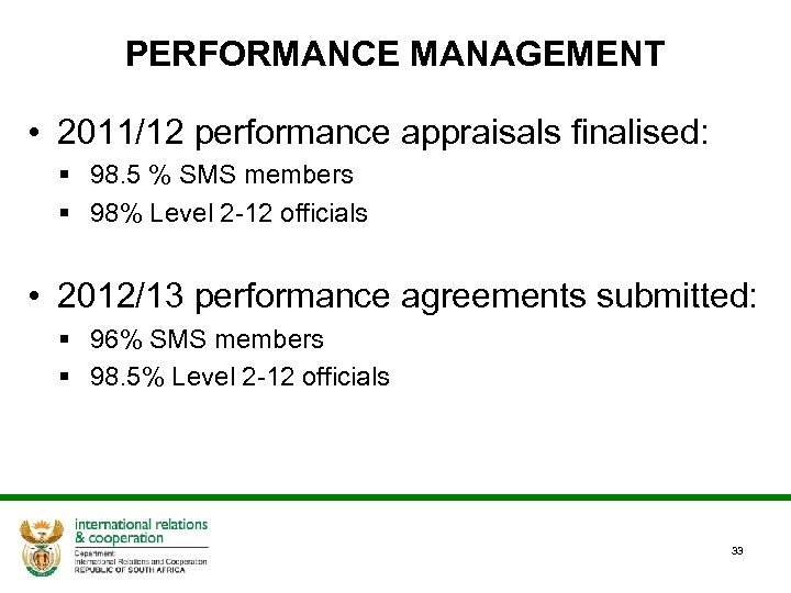 PERFORMANCE MANAGEMENT • 2011/12 performance appraisals finalised: § 98. 5 % SMS members §