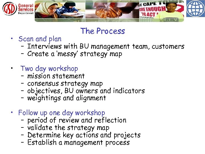 The Process • Scan and plan – Interviews with BU management team, customers –