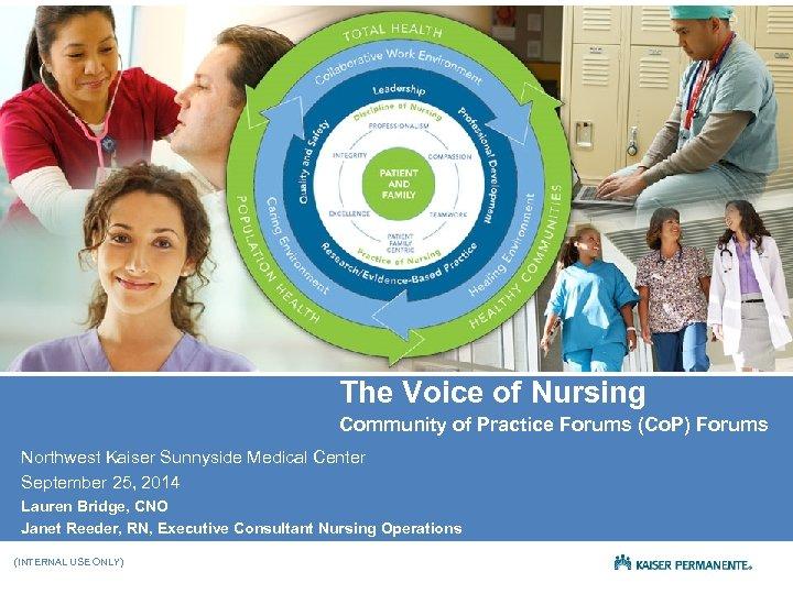 The Voice of Nursing Community of Practice Forums (Co. P) Forums Northwest Kaiser Sunnyside