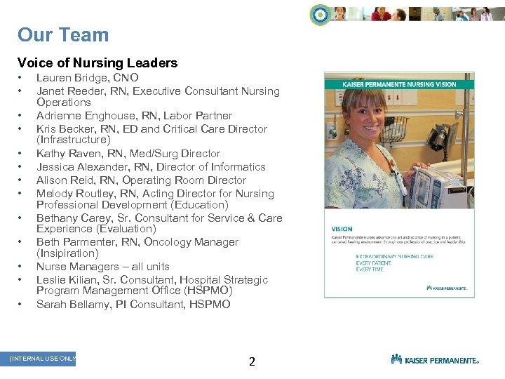Our Team Voice of Nursing Leaders • • • • Lauren Bridge, CNO Janet