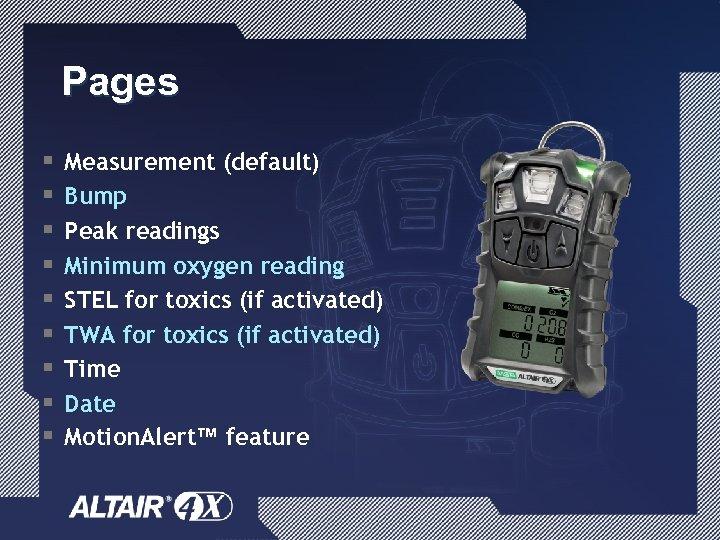 Pages § § § § § Measurement (default) Bump Peak readings Minimum oxygen reading