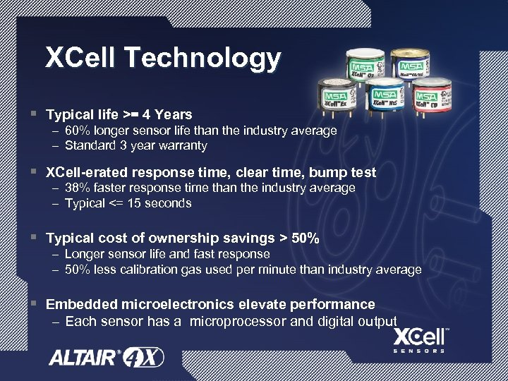 XCell Technology § Typical life >= 4 Years – 60% longer sensor life than