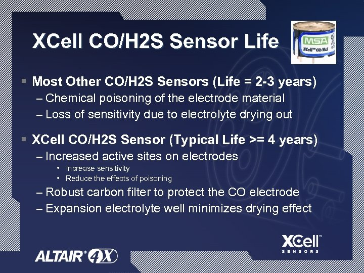 XCell CO/H 2 S Sensor Life § Most Other CO/H 2 S Sensors (Life