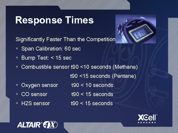 Response Times Significantly Faster Than the Competition! § Span Calibration: 60 sec § Bump