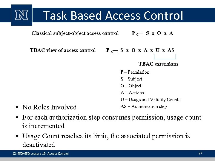 Task Based Access Control Classical subject-object access control TBAC view of access control P