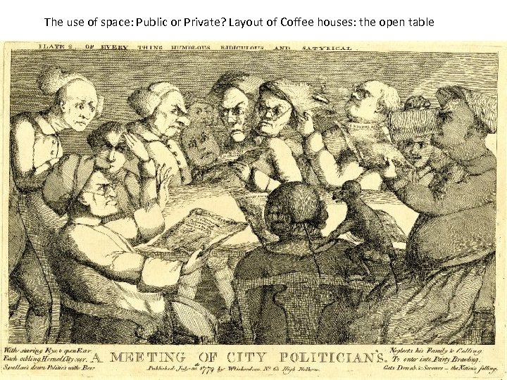 The use of space: Public or Private? Layout of Coffee houses: the open table