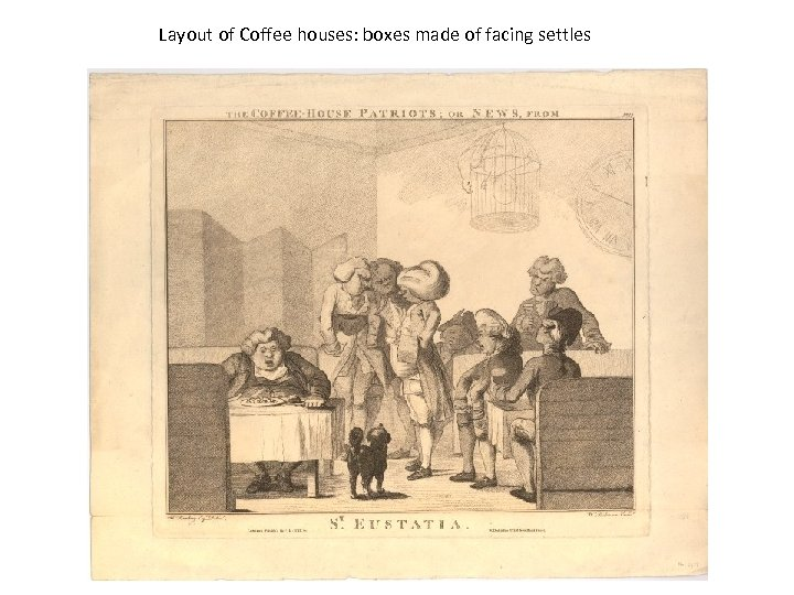 Layout of Coffee houses: boxes made of facing settles