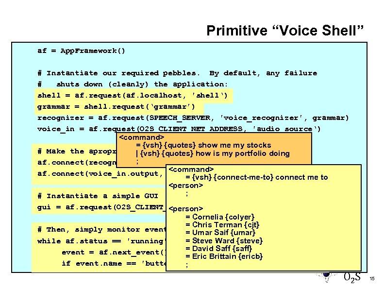 "Primitive ""Voice Shell"" af = App. Framework() # Instantiate our required pebbles. By default,"