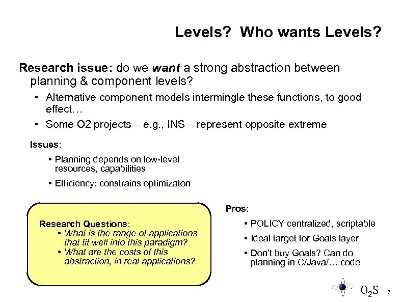 Levels? Who wants Levels? Research issue: do we want a strong abstraction between planning