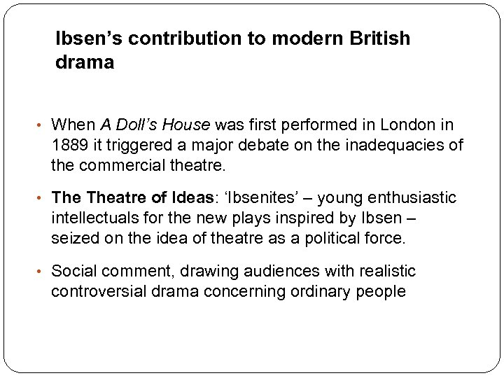 Ibsen's contribution to modern British drama • When A Doll's House was first performed
