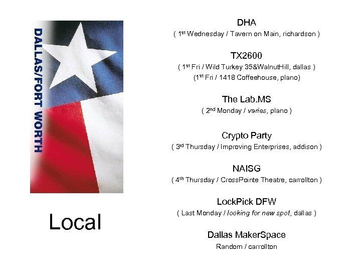 DHA ( 1 st Wednesday / Tavern on Main, richardson ) TX 2600 (