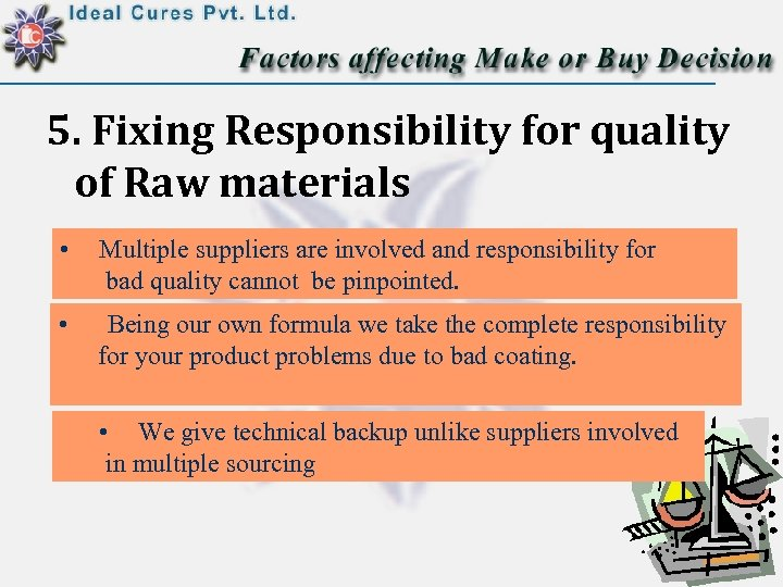 5. Fixing Responsibility for quality of Raw materials • Multiple suppliers are involved and