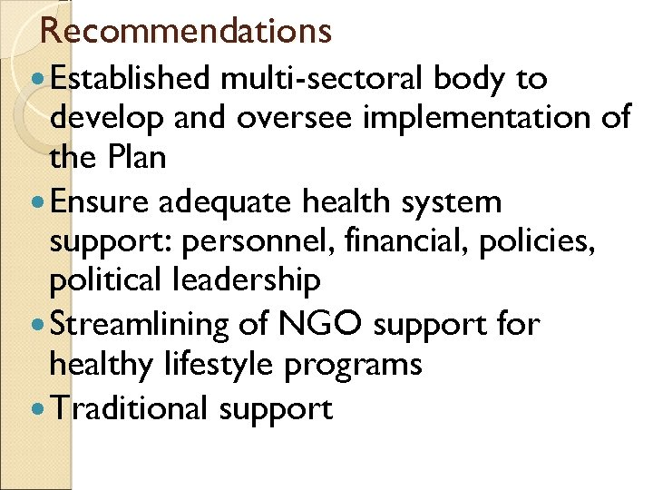 Recommendations Established multi-sectoral body to develop and oversee implementation of the Plan Ensure adequate
